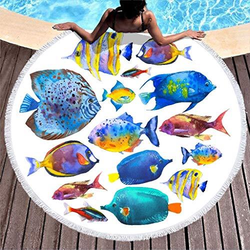 Ozean Fisch Strandtuch Rund Groß Microfaser Strandtücher Strandhandtuch Badetuch Wandteppich Teppich Yoga Matten Picknickdecke Stranddecke Weiß 150cm
