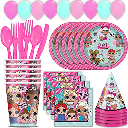 LOL Surprise Party Suministros para 16 incluye platos, servilletas, vasos, cubiertos, globos, sombreros de fiesta, gran conjunto decorativo de cumpleaños con Diva, Queen Bee, Splash, Kitty y más.