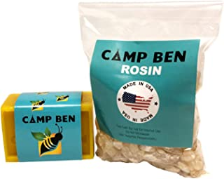 CAMP BEN DIY Beeswax Starter Pack - 4 oz Beeswax & 4 oz Pine Rosin - How to Make Your Own Fun Food Safe Organic Wraps - Get Rid of Plastic Wrapping - Do It Yourself Snack Sandwich Wrappers - USA Made
