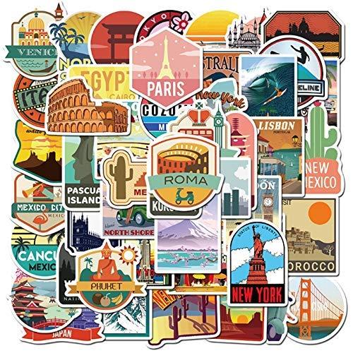 XXCKA 50 Pcs Travel City Landscape Sticker Mobile Phone Case Skateboard Luggage Waterproof Graffiti Sticker Toy