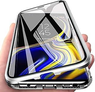 ColiColi für Samsung Galaxy Note 20 Ultra Hülle Transparent Panzerglas 360 Grad Magnet Handyhülle Clear Doppelseitige Gehärtetes Glas Schutzhülle Vorne Hinten Dünn Metall Kratzfest Bumper, Silber