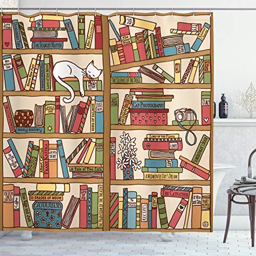 ABAKUHAUS Duschvorhang, Bibliothek mit Vielen Verschiedenen Büchern & Einer Kleinen Weißen Katze Comic Style Druck, Blickdicht aus Stoff inkl. 12 Ringe für Das Badezimmer Waschbar, 175 X 200 cm
