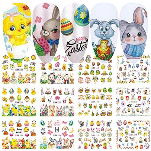 Easter Nail Art Stickers Water Transfer Nail Decals 12 Sheets Easter Egg Bunny Chick Design Nail Stickers Nail Wraps DIY Manicure Tips Accessories for Women Girls Nail Art Decorations