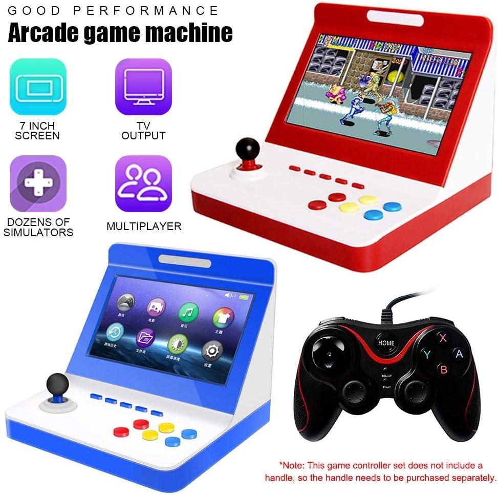 Luckyx Game Controller Mini-draagbare gameconsole met 7 inch groot scherm voor arcadespellen, handheld-kinderspelconsoles, blauw zwart