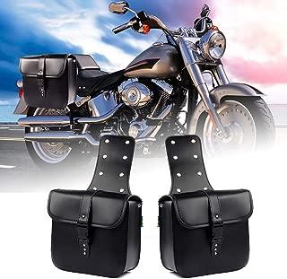 LEAGUE&CO Pair of Motorcycle Saddle Bag Set Medium Waterproof Insulated PU Leather Side Bag for Harley Sportster Softail Honda Suzuki Yamaha Cruiser