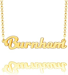 EV.YI Jewels Burnham Custom Personalized Name Necklace Last Name Plate Pendant Gift for Family Mom Dad Friend Lover