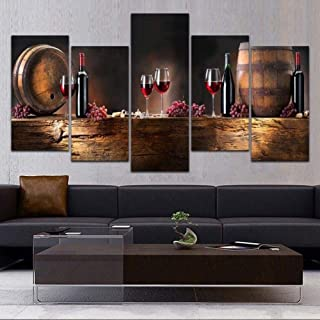 BDHNMX 5 Panel Hd Landscape Red Wine Cup Modern Art Canvas Print Abstract Image Feel Photo Wall Painter Residential Decorative Wall Decoration