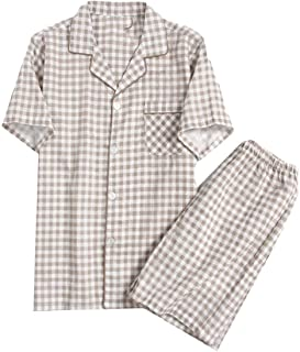 Men's Pajamas Summer Two Piece Set Lapel Short Comfortable Sizes Sleeve Pajamas Top and Pajama Pants Lightweight Casual Co...