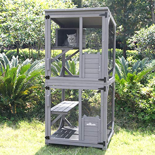 Cat Cage Wooden Indoor Outdoor Cat House Large Enclosure with Run on Wheels 70.9' Upgraded Version Catio with Reinforcement Strip,Waterproof Roof (Grey)