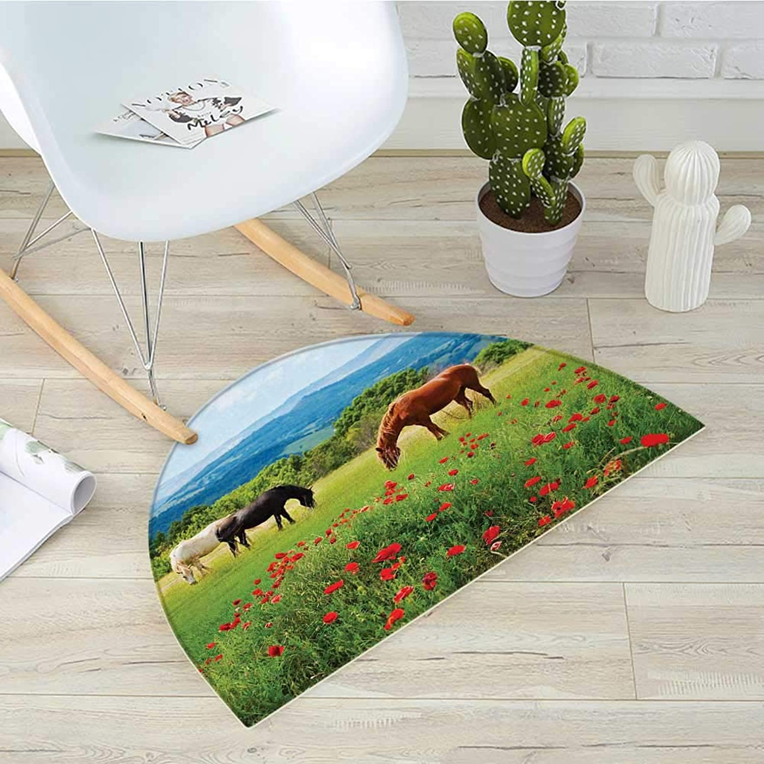 Horses Half Round Door mats Various Kinds of Horses Eating Grass in Field Mountain Landscape Rural Scene Print Bathroom Mat H 39.3  xD 59  Multicolor