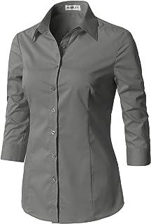 قميص CLOVERY نسائي مخيط 3/4 كم ضيق أساسي بسيط بأزرار سفلية