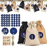 Miamasvin Calendario de Adviento 2020, DIY Bolsa de Regalo, 24 Pegatinas Digitales, Puede ser llenado, Se Utiliza para fFiestas de Navidad, Ggraduación, Matrimonio, Bautismo de Adultos