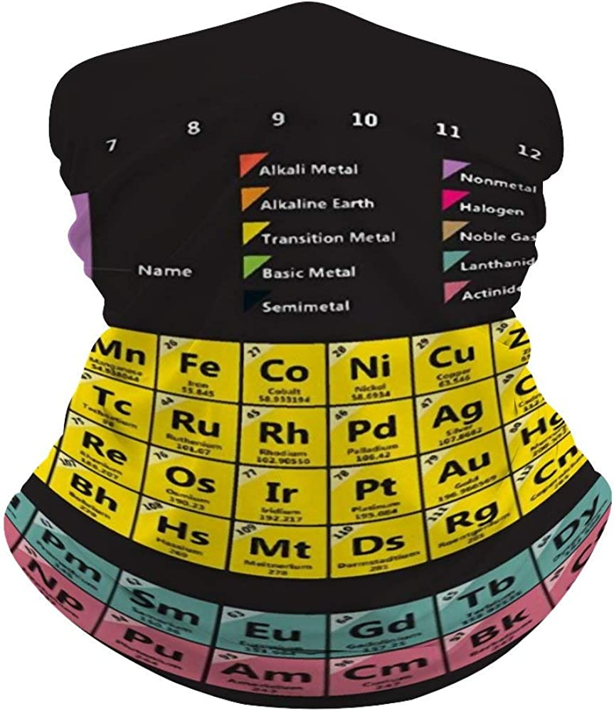 Periodic Table of The Elements Chemistry Neck Gaiter Face Cover Scarf Breathable Summer Cooling Seamless Bandana Wrap Face Mask - Women & Men for Dust,Outdoor,Festivals,Sports