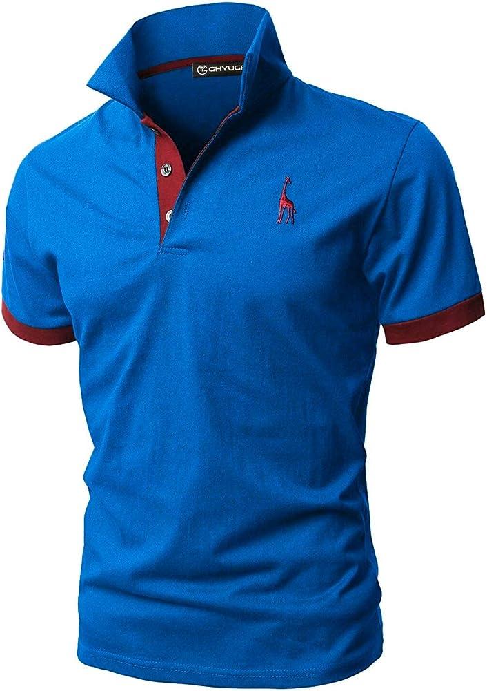 Ghyugr polo maglietta da uomo a maniche corte 100% cotone shenkaclothing0310-B
