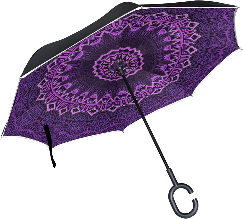 Double Layer Ingreened Mandala Purple Mandalas Balance Digital Umbrellas Reverse Folding Umbrella Windproof Uv Predection Big Straight Umbrella for Car Rain Outdoor with CShaped Handle