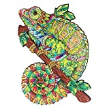 Wooden Jigsaw Puzzles for Adults, Unique Wooden Animal Shaped Jigsaw Pieces Iridescent Chameleon, ottimo Regalo per adulti e Bambini, finitura 19,2 x 27,4 cm, 138 pezzi