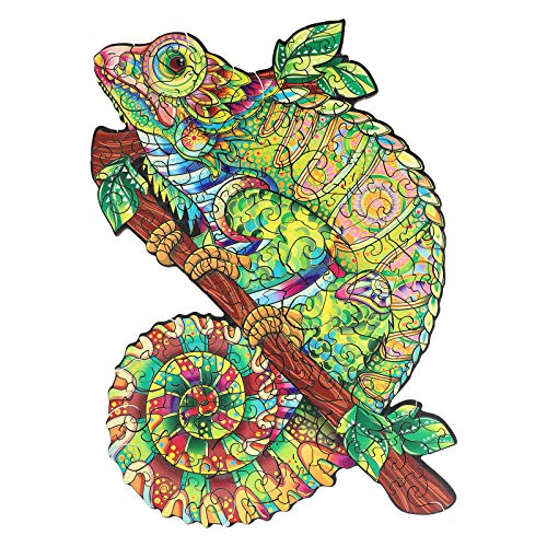crocotile Wooden Jigsaw Puzzles for Adults, Unique Wooden Animal Shaped Jigsaw Pieces Iridescent Chameleon, ottimo Regalo per adulti e Bambini, finitura 19,2 x 27,4 cm, 138 pezzi