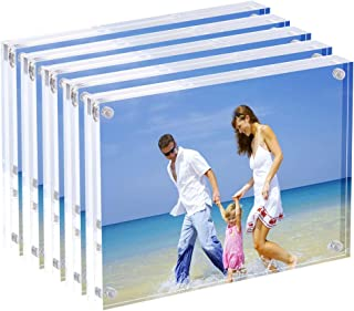 AmeiTech Acrylic Picture Frames, 4x6'' Clear Double Sided Block Set, Desktop Frameless Magnetic Photo Frame (5 Pack)