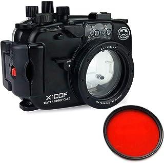 Sea Frogs 40m/130ft 水中カメラケース アンダーウォーターハウジング Fujifilm X100Fのために保護ケース 防水プロテクター 水中撮影用 国際防水等級IPX8 + 67mm赤色フィルター