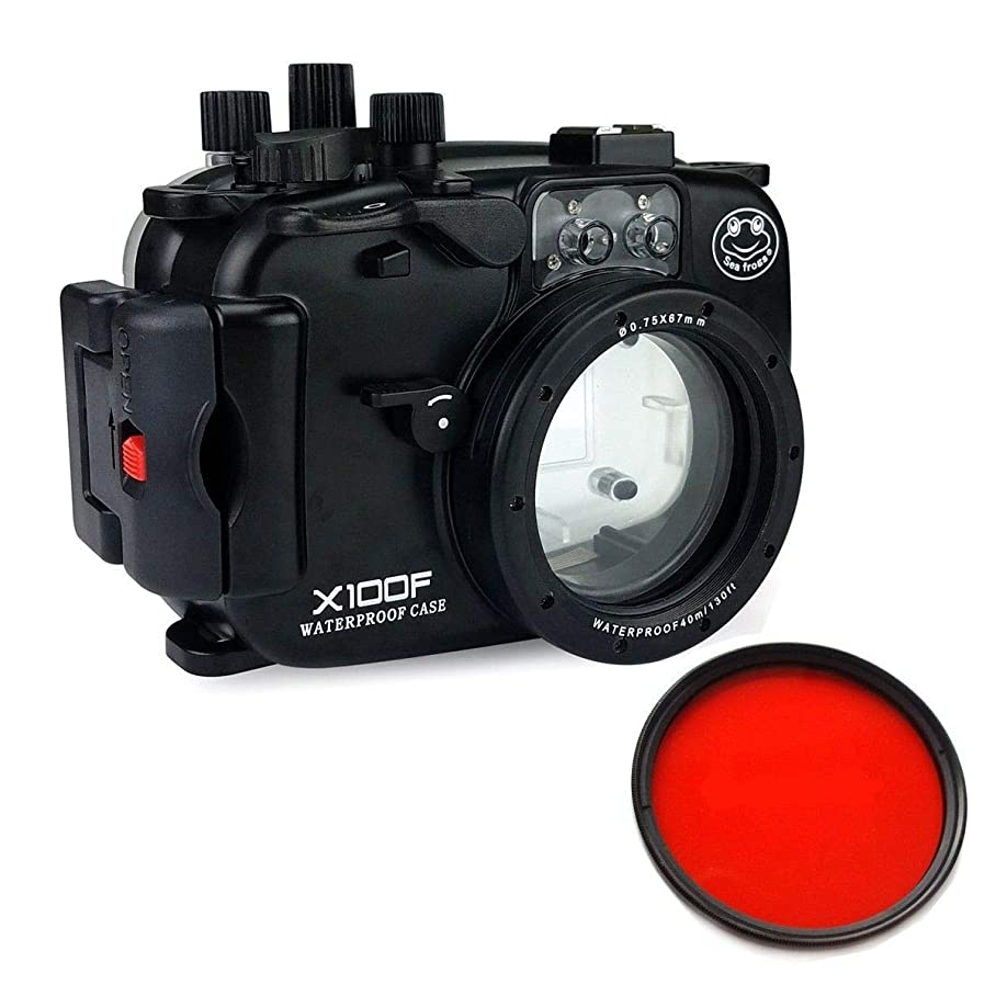 ためにダム良心的Sea Frogs 40m/130ft 水中カメラケース アンダーウォーターハウジング Fujifilm X100Fのために保護ケース 防水プロテクター 水中撮影用 国際防水等級IPX8 + 67mm赤色フィルター