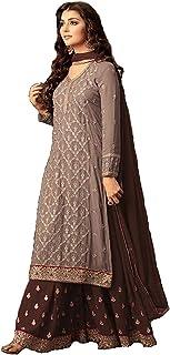 RANGE OF INDIA Women's Designer Sharara Palazzo Salwar Kameez Embroidered Indian Ethnic Party Wear Dress