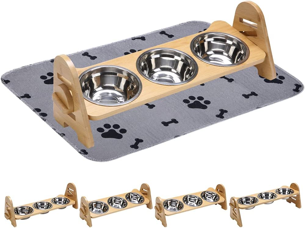 PUPTECK Elevated Dog Feeder - Raised Dog Bowls 4 Adjustable Levels & Non-Slip Food Mat Set, Dog Food Water Stand with 3 Stainless Bowls for Cats Dogs Puppies Drinking Eating
