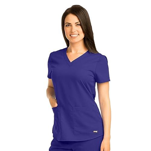 c806f445284 Grey's Anatomy 71166 Women's Two Pocket V-Neck Scrub Top with Shirring Back