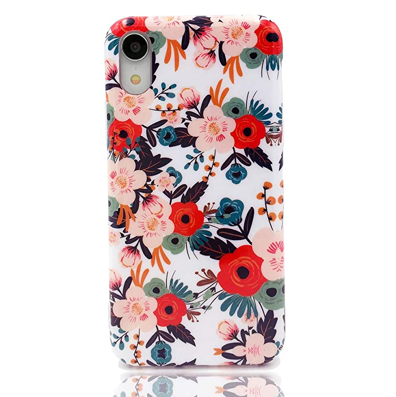 HUIYCUU Case Compatible with iPhone XR Case, Slim Fit Tropical Floral Print Design Soft Cute Pattern Shockproof Thin Girl Women Protective Bumper Cover for iPhone Xr, Colorful Rose Flowers