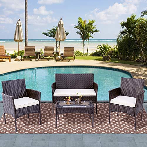 Pectt Juego de 4 muebles de patio al aire libre, silla de ratán con cojín, sofá de conversación seccional con mesa de café de cristal para patio trasero, césped, porche, jardín, piscina