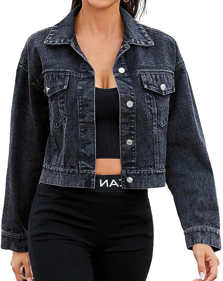 SCOFEEL Women's Button Down Long Sleeve Crop Denim Jean Jacket with Pockets