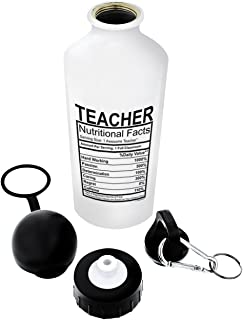 ThisWear Teacher Nutritional Label Gift Aluminum Water Bottle with Cap & Sport Top