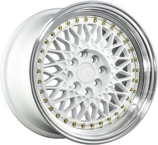 AodHan AH05 Wheel - White Machined Lip (Gold Rivets): 15x8 Wheel Size; 4x100/114.3 Lug Pattern; 73.1mm Hug Bore; 20mm Off Set.