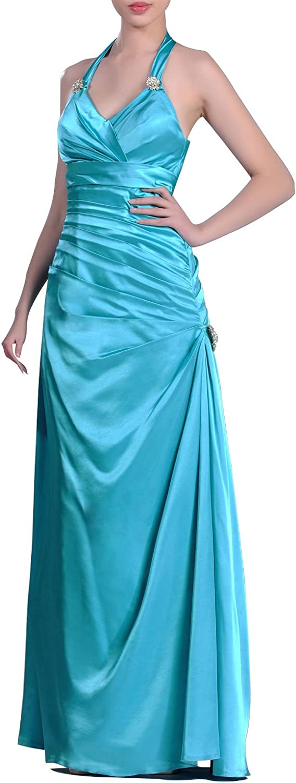 Adgoldna Stretch Satin Natrual Halter Full Length Evening Dress