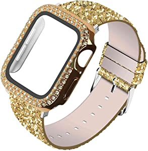 Wolait Compatible with Apple Watch Band with Glass Screen Protector 44mm 40mm,iWatch Leather Glitter Sparkly Wristband Bracelet with Bling Diamond Case for iWatch SE Series 6 5 4 Women-44mm