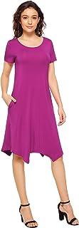 Weintee Women's Soft T-Shirt Dress Short Sleeves Swing Dress with Pockets