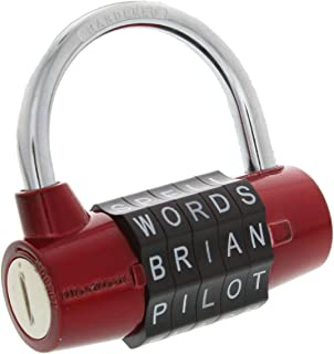 Wordlock, Red PL-002-RD 5-Dial Padlock, 2 Inch