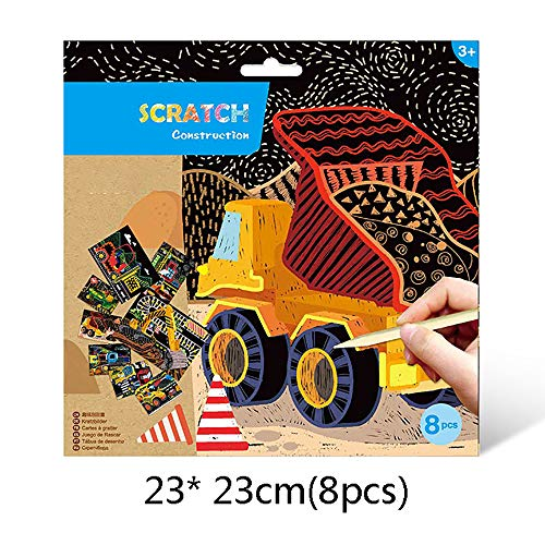SSZZ Rainbow Scratch Paper Art Kit Graffiti Paper DIY Scratch Painting Colorful Crafts Hecho A Mano Creativo Infantil Magic Scratch,L