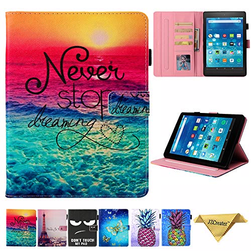 Kindle fire HD 8 Case (2018 2017 2016 Version, 8th/7th/6th Gen), Not Fit HD 8 2020 Tablet,JZCreater Slim Leather Standing Case Cover with Auto Wake/Sleep, Dream