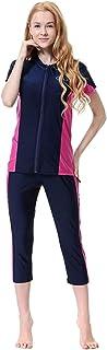 Women's Full Length Long Muslim Islamic Burkini Modest Swimwear Black-Pink