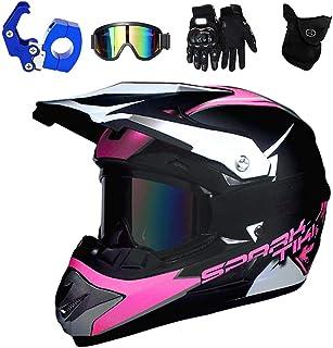 PKFG Motocross Helm mit Brille, Motorrad Downhill Helm Kinder Grün mit Helmhaken und Handschuhe, Mountainbike Enduro Helm für Mädchen/Damen Kopf und Hals Sicherheit Schutz