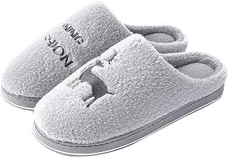 LQLD Grande Taille Hommes Coton Pantoufles, Non-Slip Intérieur Doux Fond Silencieux en Peluche Chaud Pantoufles pour Intér...