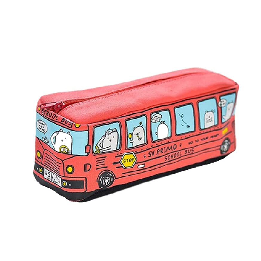 Funnylive Large Capacity Pen Bag Funny School Bus Cartoon Pencil Case School Supplies or Toys (Red)