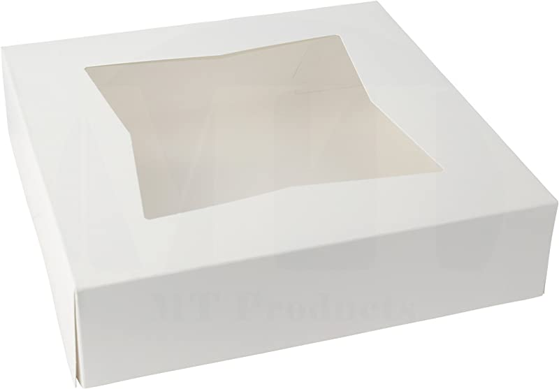10 Length X 10 Width X 2 1 2 Height White Kraft Paperboard Auto Popup Window Pie Bakery Box By MT Products Pack Of 15