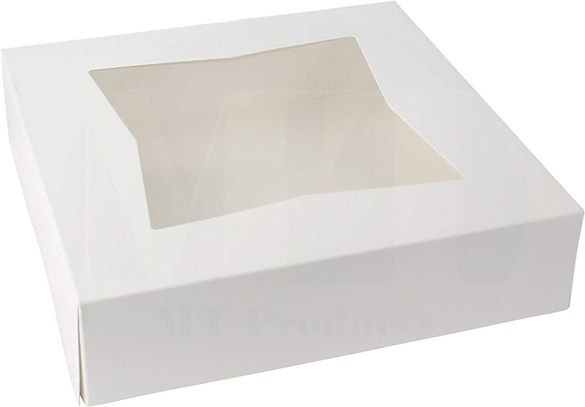 8 Length X 8 Width X 2 1 2 Height White Paperboard Auto Popup Window Pie Bakery Box By MT Products 25 Pieces