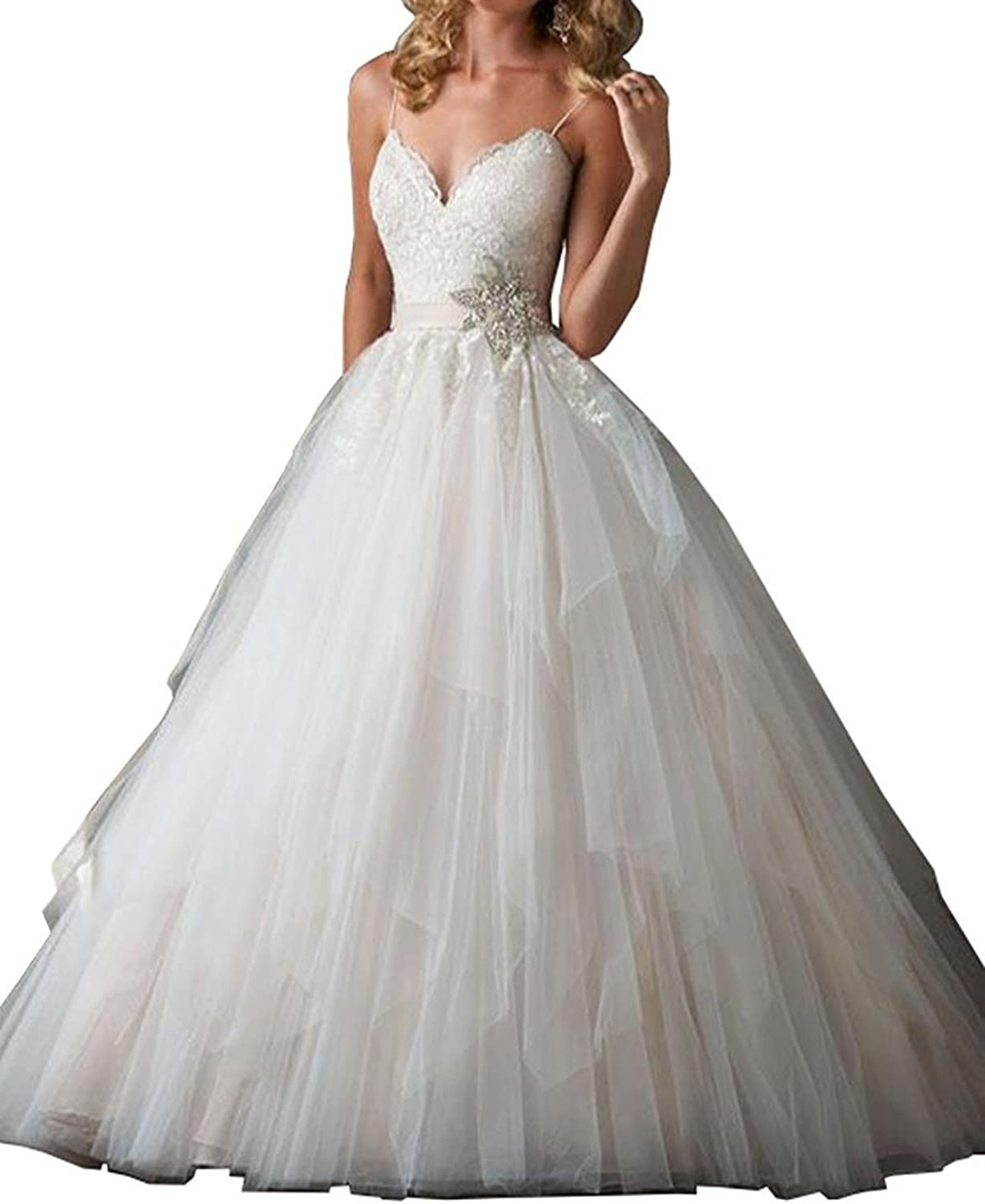 Anlin V Neck Lace Appliques Tulle Ball Gown Wedding Dress with Strap AN300