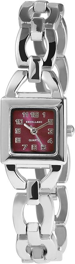 Excellanc 180023800333 - Reloj analógico de mujer de cuarzo con correa de aleación plateada