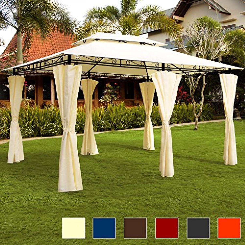 Deuba Pavillon Topas  3x4m Seitenwnde Eckig  Festzelt Partyzelt Gartenlaube Gartenzelt Gartenpavillon Beige