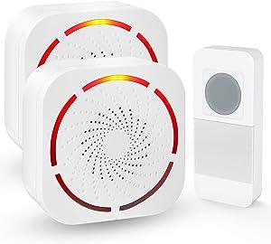 White Wireless Door Bell Kit,SURNICE Mini Wireless Doorbell for Home with 1 Push Button Transmitter and 2 Receivers,Operated Door Bells,Long Range Waterproof Wireless Door Bells (Battery Version)