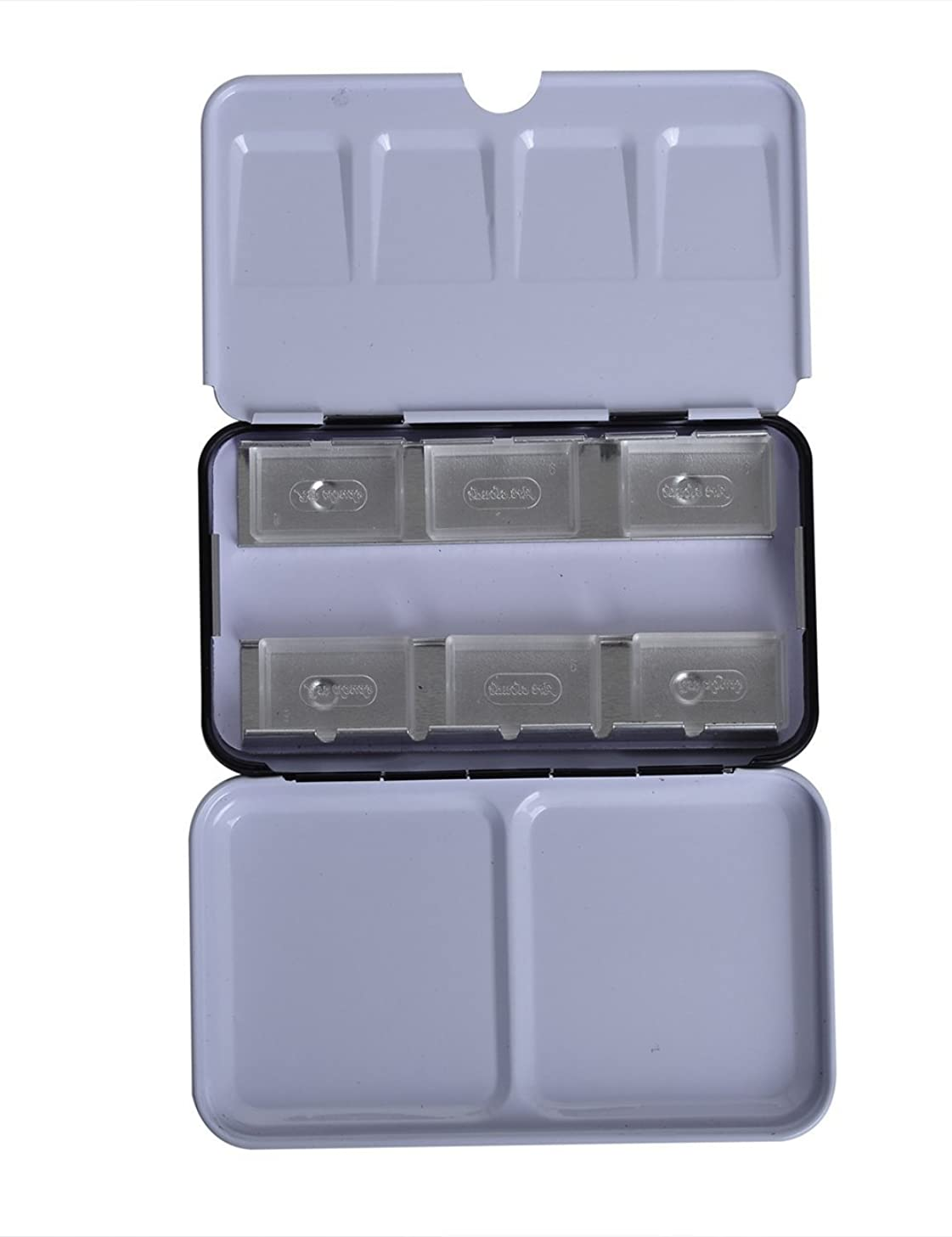 MEEDEN Empty Watercolor Tin Metal Box with 6 Transparent Full Pans