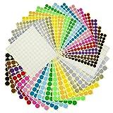 Etichette Adesive Colorate Etichette Autoadesive Rotonde Cerchio 32 Fogli 16 Colori 3232 Pezzi(13mm x 16 Fogli e 19mm x 16 Fogli )
